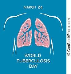 24, mänsklig, lungan, march., illustration, vektor, tuberkulos, värld, dag