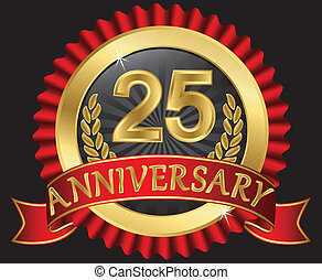 25, år, gyllene, årsdag