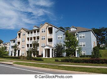 3, condos, townhou, berättelse, lägenheter