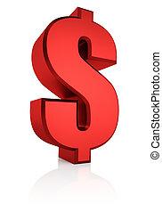 3, dollar, röd, underteckna
