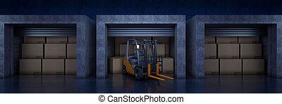 3, papp, lager, boxes., framförande, lagring, transportera laddande, gaffeltruck, eller