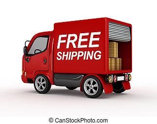 3, skåpbil, gratis, skeppning, röd