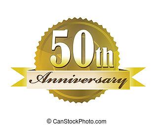 50th, försegla, årsdag