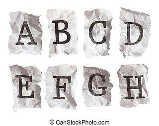 a-h, skrynkligt, breven, --, papper, maskinskriven, alfabet