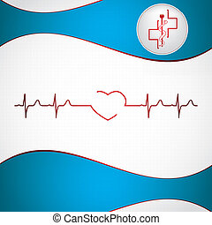 abstrakt, bakgrund, medicinsk, ekg, kardiologi
