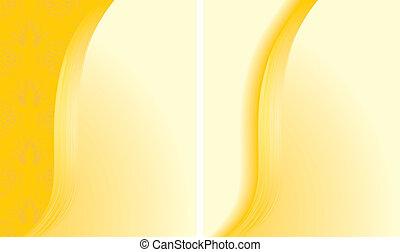 abstrakt, bakgrunder, två, gul