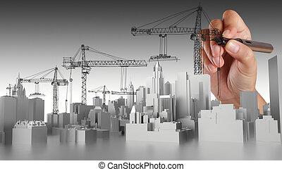 abstrakt, hand, oavgjord, byggnad