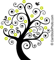 abstrakt, träd, fåglar