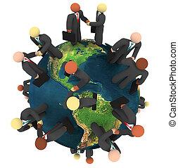 affär, global, -, handlar, handskakningar, internationell