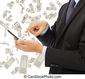 affär, pengar, regna, ringa, rörande, bakgrund, smart, man