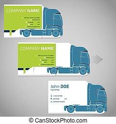 affär, två, lastbil, släpvagn, stycke, kort