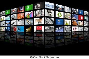 affär, tv, stor bildskärm, internet, panel