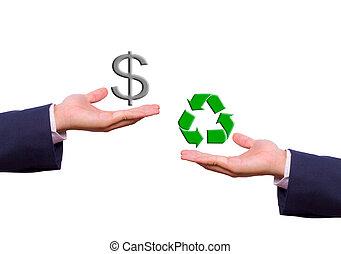 affär, utbyte, dollar endossera, man, återanvända, hand, ikon