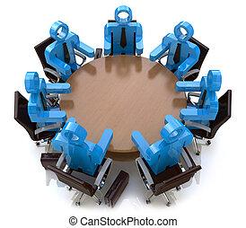 affärsfolk, -, bak, session, bord, möte, runda, 3