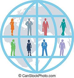 affärsfolk, global, lag, värld, resurser