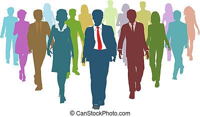 affärsfolk, mångfaldig, mänsklig, lag ledare, resurser