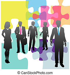 affärsfolk, problem, lösning, mänsklig, problem, resurser