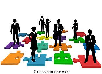 affärsfolk, problem, mänsklig, lag, resurser