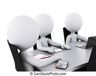 affärskontor, folk, room., möte, 3