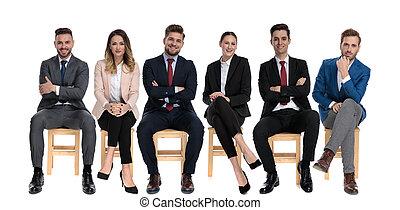 affärsmän, framfusig, le, lag, ung, 6, se