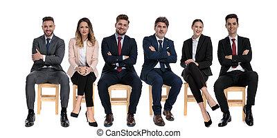 affärsmän, framfusig, pålitlig, le, lag, 6, se