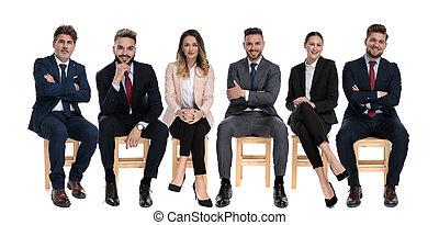 affärsmän, framfusig, positiv, le, lag, 6, se