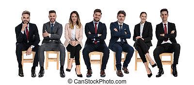 affärsmän, positiv, le, lag, 7