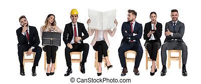 affärsmän, väntan, lag, 7, arbete samtalen