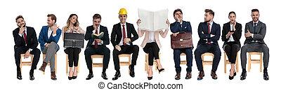 affärsmän, väntan, lag, arbete samtalen, 10