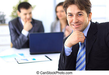 affärsman, möte, affärskontor, ung