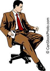 affärsman, stol, kontor, sittande