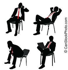 affärsman, stol, sittande