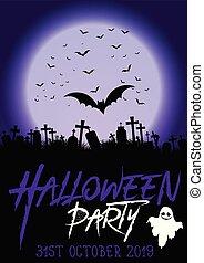 affisch, 0209, bakgrund, parti, halloween