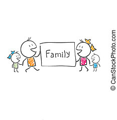 affisch, fästen, familj
