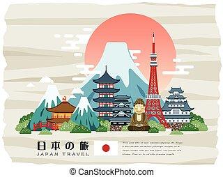 affisch, japan, attraktiv, resa