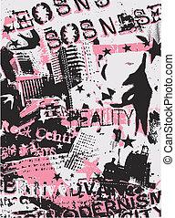 affisch, kvinna, mode