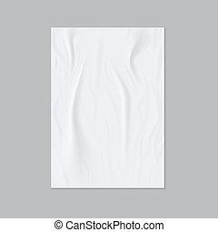 affisch, limmat, mall, papper, rynkig, eller, wall., flygare, realistisk, vektor