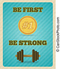 affisch, motivering, styrka, övning, fitness