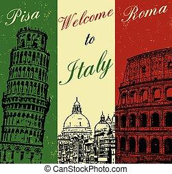 affisch, välkommen, italien, årgång