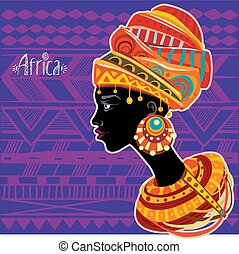 afrikansk, stående, kvinna, turban, etnisk