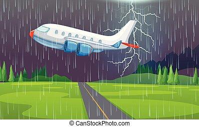 airplane, flygning, åskväder