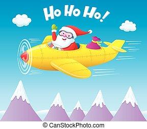 airplane, flygning, claus, jultomten