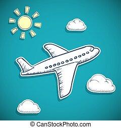 airplane, flygning, clouds.