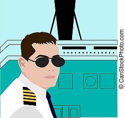 airplane, flygning, pilot, stuga, sittande