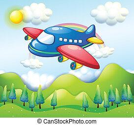 airplane, kullar, färgrik, ovanför