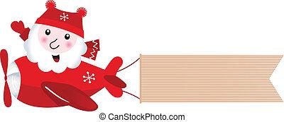 airplane, retro, jultomten, jul, baner, tom, flygning