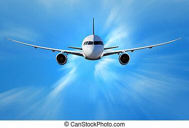airplane, skyn, ovanför
