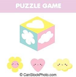 aktivitet, bilda, toy., tändsticka, motsvarande, kub, barn, problem, game., silhouettes, lurar, toddlers., bilder