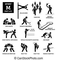 alfabet, ikonen, sport, pictogram., m, spel, vektor