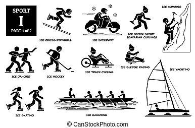 alfabet, ikonen, sport, pictogram., spel, vektor